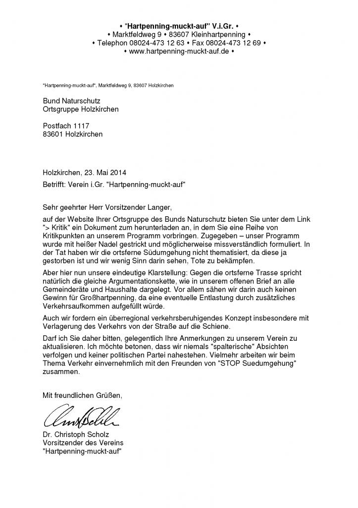 Stellungnahme von HMA bezüglich Kritik des Bundnaturschutz Holzkirchen